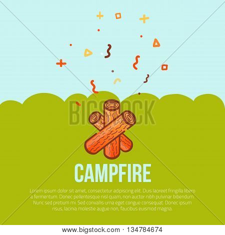 Campfire linear icon in modern style. Tourist campfire with firewood. Flame logo concept. Vector silhouette burning symbol on green background.