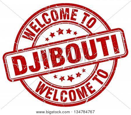 welcome to Djibouti stamp. welcome to Djibouti.