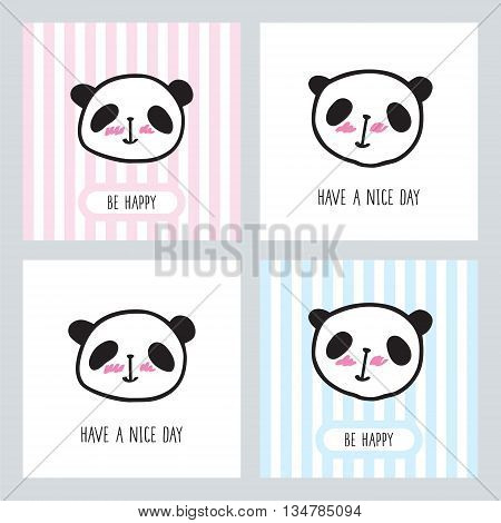 Set of small cards with a cute pandas. Hand drawn pandas for your design. Doodles, sketch. Vector illustration.