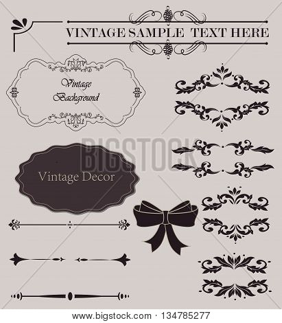 Wicker lines and old decor elements in vector. Vintage borders, frame and rosette in set. Vector page decoration. Decoration for logos, wedding album or restaurant menu