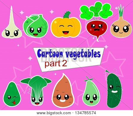 Funny Various Cartoon kawaii Vegetables.Here are avocado, batata, pak choy, zucchini, garlic, beets, leeks, cucumber, cabbage, pumpkin . Vector first set