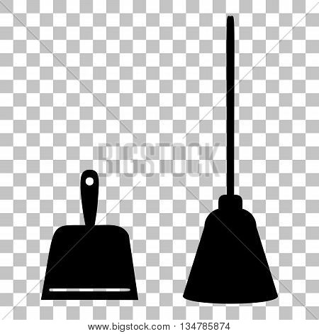 Dustpan vector sign. Scoop for cleaning garbage housework dustpan equipment. Flat style black icon on transparent background.