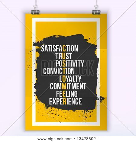 Customer Inspirational Motivational Quote Phrase - trust, satisfaction, feeling. Poster design