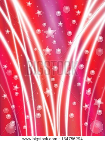 Festive Red Celebration Background with Stars Bubbles and Light Beams