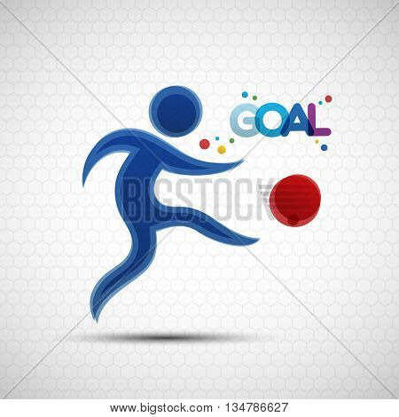 Football championship banner. Soccer player kicks the ball. Vector illustration of abstract footballer silhouette for your design
