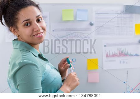 Attractive Black Woman And Whiteboard