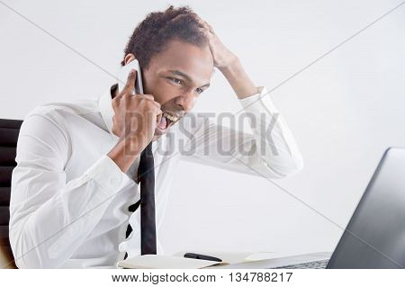 Furious Male Shouting On Phone