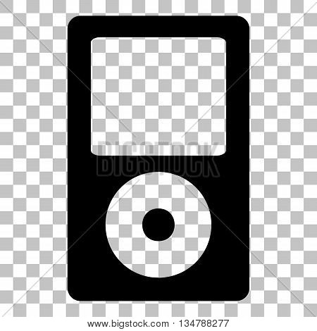 Portable music device. Flat style black icon on transparent background.