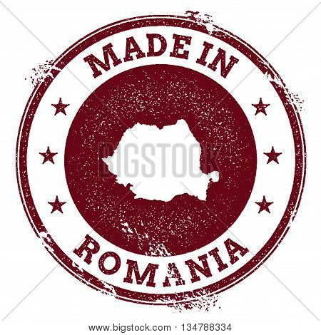Romania Vector Seal. Vintage Country Map Stamp. Grunge Rubber Stamp With Made In Romania Text And Ma