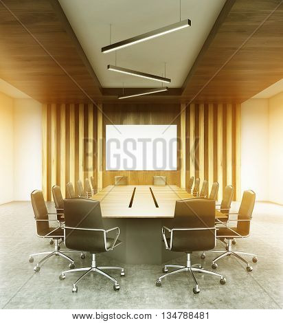 Modern conference room interior with blank whiteboard furniture wooden wall ceiling and concrete floor. Filtered image. Mock up 3D Rendering