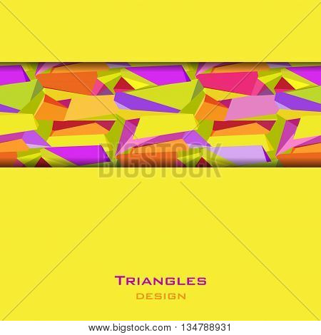 Abstract geometric background. Horizontal center yellow border geometric design. Orange, yellow, green and purple geometric abstract triangles border design in white background. Vector illustration.