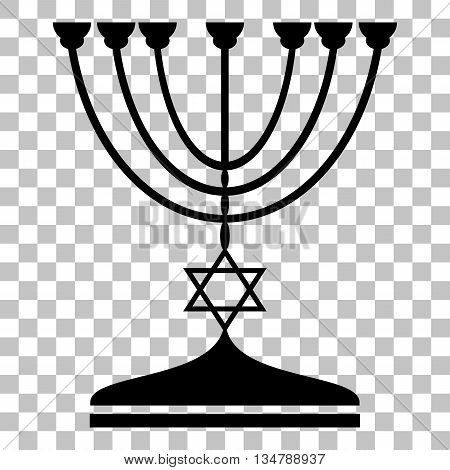 Jewish Menorah candlestick in black silhouette. Flat style black icon on transparent background.