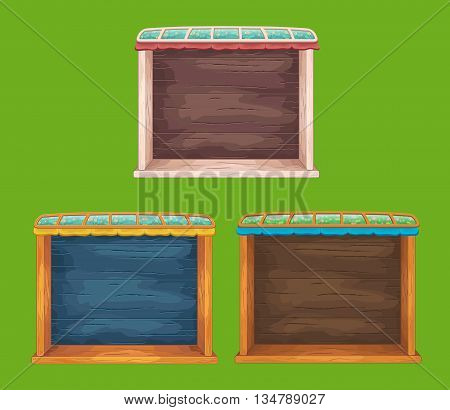 Set of  game wooden shelf windows set with glass roof
