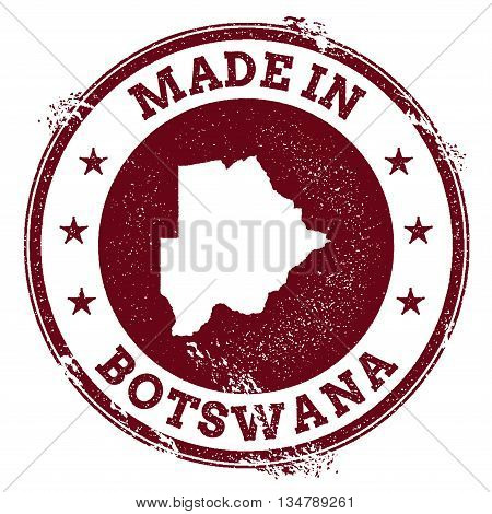 Botswana Vector Seal. Vintage Country Map Stamp. Grunge Rubber Stamp With Made In Botswana Text And