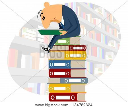 Vector illustration of a clerk reading documents