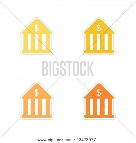 Set of paper stickers on white  background bank