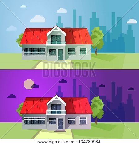 Set of colorful cottage houses. Flat buildings. Vector illustration