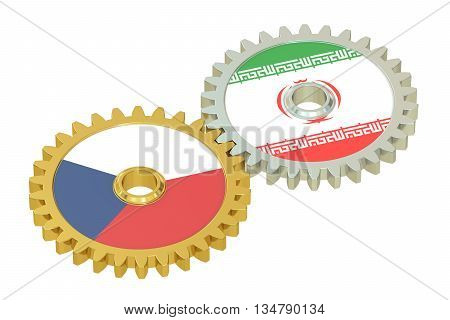 Czech Republic and Iran flags on a gears 3D rendering isolated on white background
