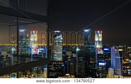 Panoramic balcony design with illuminated Singapore city view at night. 3D Rendering