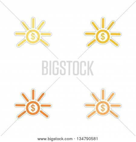 Set of paper stickers on white  background coin
