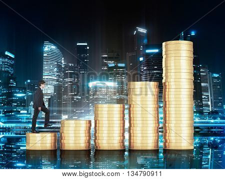 Financial growth concept with businessman climbing golden coin chart bars on illuminated Singapore city background at night