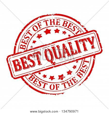 Scratched round red stamp with the word - the best quality the best of the best - vector