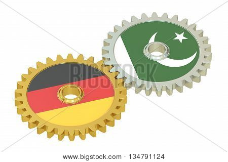 Pakistan and Germany flags on a gears 3D rendering isolated on white background
