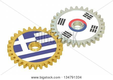 South Korea and Greece flags on a gears 3D rendering isolated on white background