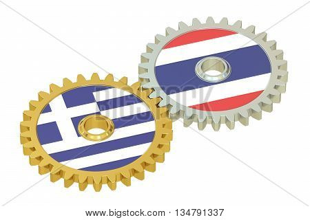 Thailand and Greece flags on a gears 3D rendering isolated on white background