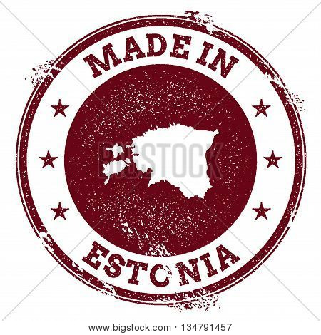 Estonia Vector Seal. Vintage Country Map Stamp. Grunge Rubber Stamp With Made In Estonia Text And Ma