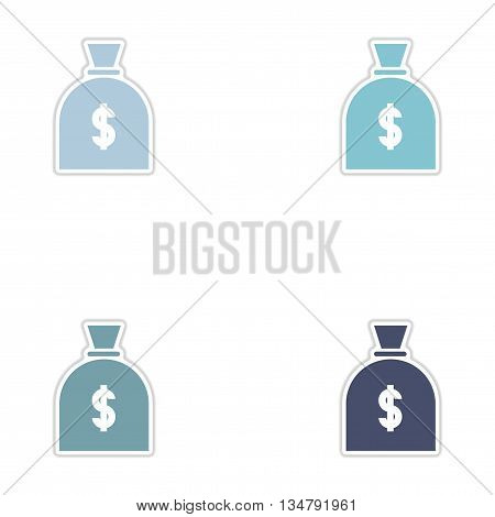 Set of paper stickers on white  background money bag