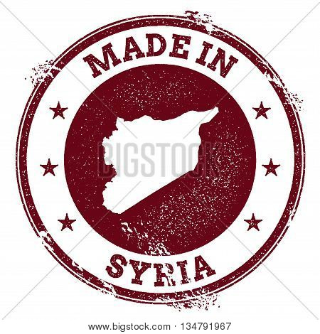 Syrian Arab Republic Vector Seal. Vintage Country Map Stamp. Grunge Rubber Stamp With Made In Syrian