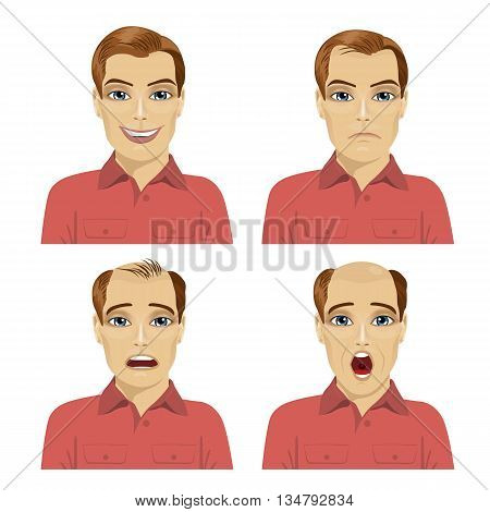 young man with different stages of hair loss on white background