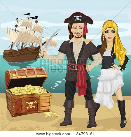 Young man and woman in pirate costume holding a sword standing near open treasure chest on beach in front of pirate ship