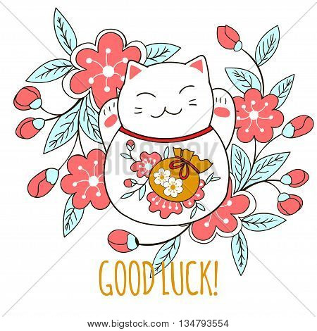 Cute greeting card with kitten maneki neko and Sakura flowers. A bag of money drawn on the belly of the cat symbolizes luck and wealth. Vector illustration.
