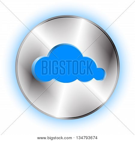 Cloud futuristic icon. Technological background with cloud button and cloud shape cut off. Vector illustration