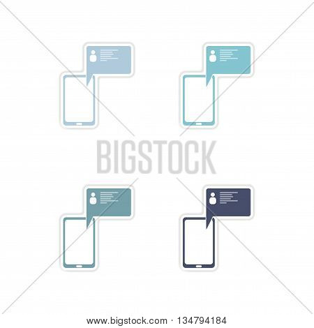 Set of paper stickers on white  background cell phone message