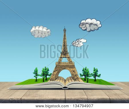 Open book with a sketch of the Eiffel Tower on top of it. Sign and symbol. Book - the key to success and internal development. Eiffel Tower. France. Sight. Face of Paris. Catholicism.