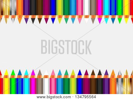 Realistic colored wooden pencils on white background. Vector illustration.