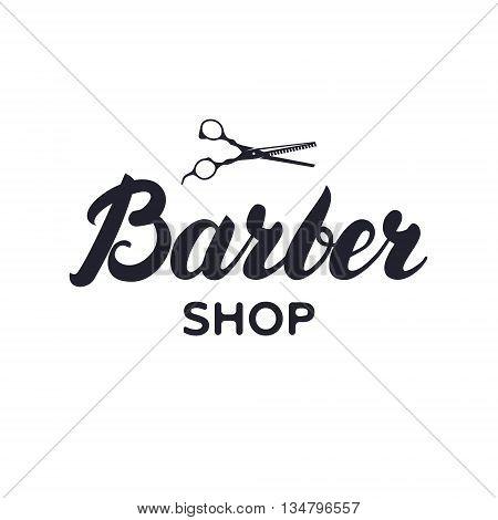 Logotype, label, badge for barbershop, hair salon with scissors. Lettering logo. Vector Illustration