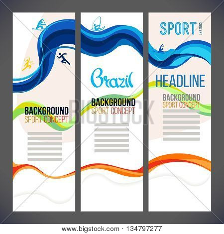 Abstract vector template design, brochure, Web sites, page, leaflet, with colored lines and waves, logo and text separately. Sport concept banners.2016