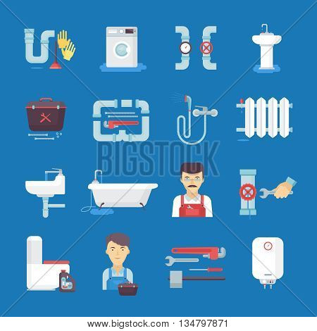Plumber flat icons collection with toilet sink water heater on dark blue background abstract isolated vector illustration.