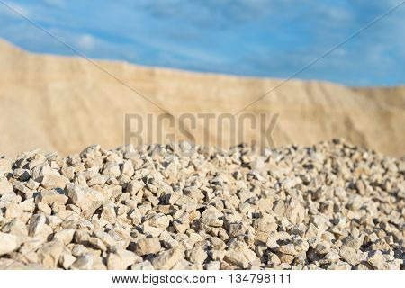 limestone in the development of rock on background of blue sky