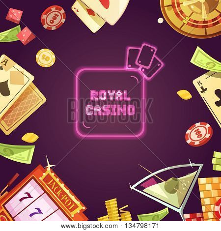 Royal casino with slot machine roulette cards money chips and cocktail around on purple background retro cartoon vector illustration