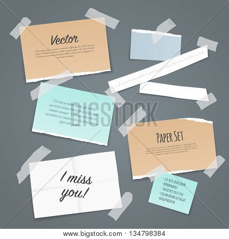 Paper set of different scraps of paper stuck by sticky tape on pale blue background vector illustration