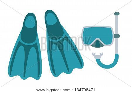 Diving mask, snorkel and slippers isolated on white background. Icon pictogram. Art vector illustration.