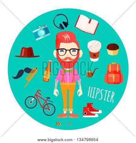 Hipster character man with red hair fake mustache and retro accessories flat round mint background abstract vector illustration