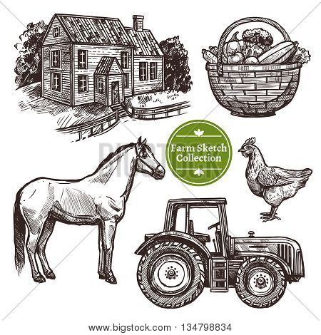 Black and white farm hand drawn sketch set with horse hen farmhouse tractor and basket with vegetables on white background isolated vector illustration