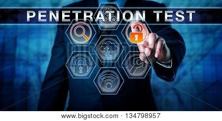 Manager pressing PENETRATION TEST on an interactive touch screen interface. Software application tools for scanning and access are highlighted. Computer security concept for pentest. Caucasian man.