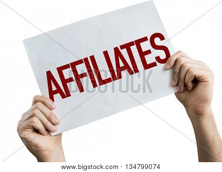 Affiliates placard isolated on white background